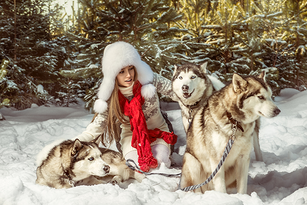 Beautiful woman in the winter forest